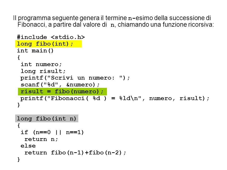 Il programma seguente genera il termine n- esimo della successione di Fibonacci, a partire dal valore di n, chiamando una funzione ricorsiva: #include