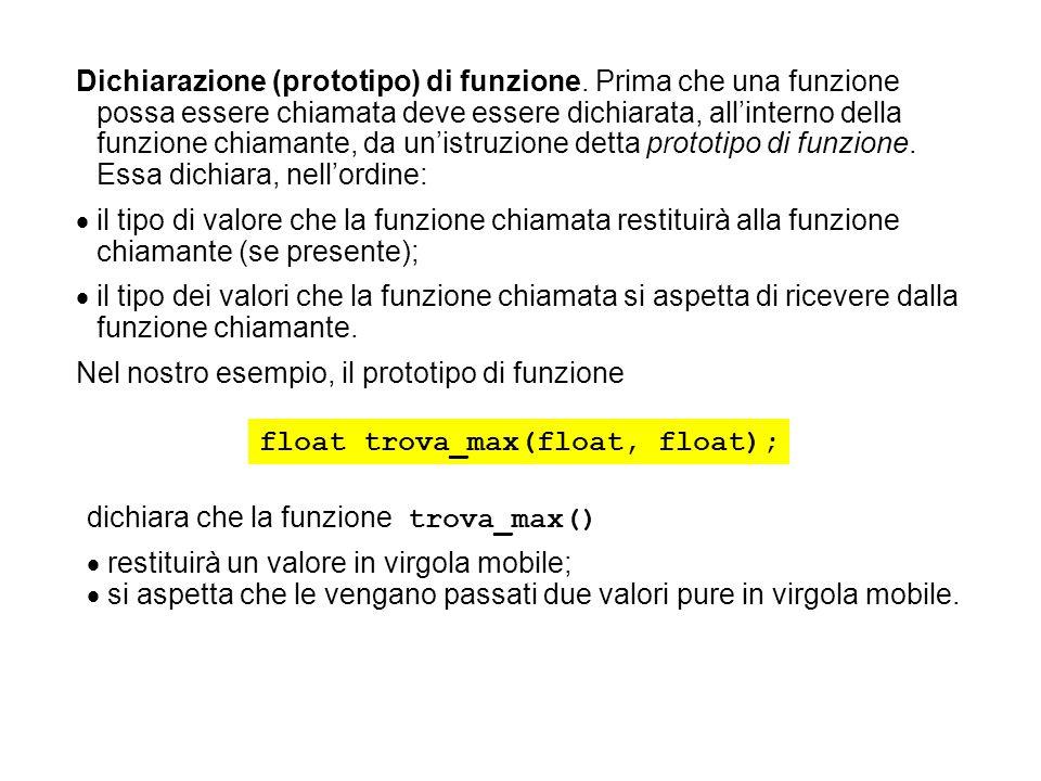Dichiarazione (prototipo) di funzione. Prima che una funzione possa essere chiamata deve essere dichiarata, allinterno della funzione chiamante, da un