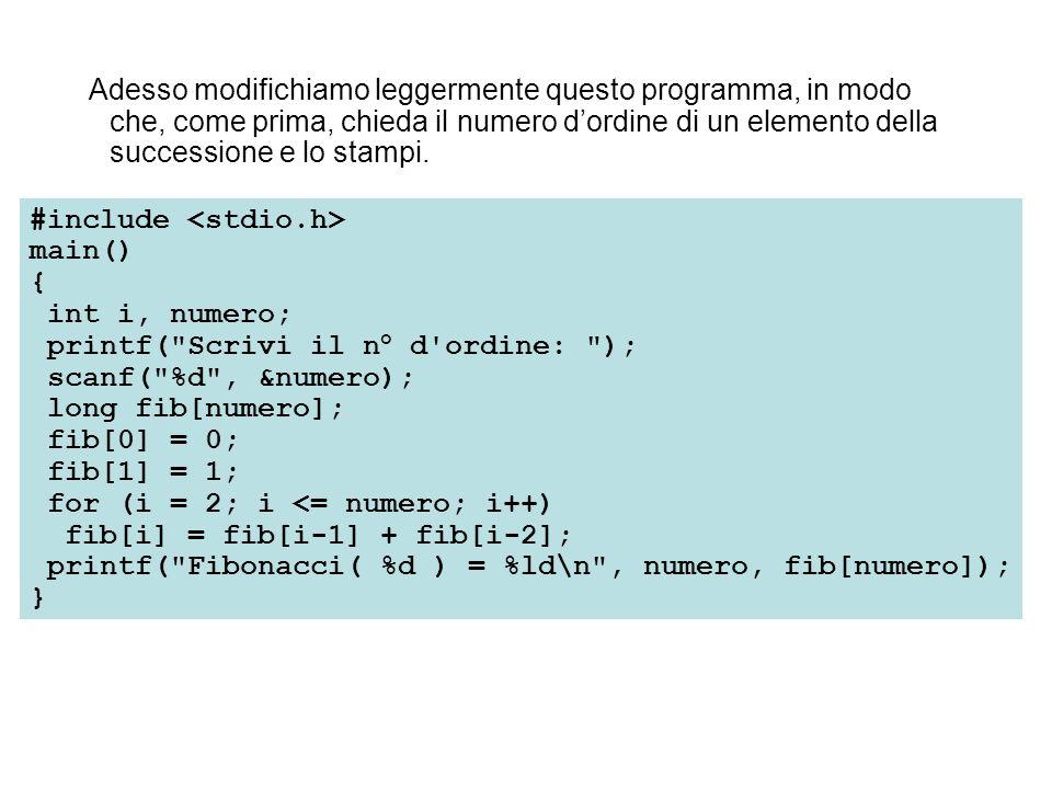 Adesso modifichiamo leggermente questo programma, in modo che, come prima, chieda il numero dordine di un elemento della successione e lo stampi. #inc