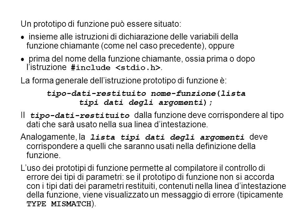 Un prototipo di funzione può essere situato: insieme alle istruzioni di dichiarazione delle variabili della funzione chiamante (come nel caso precedente), oppure prima del nome della funzione chiamante, ossia prima o dopo listruzione #include.