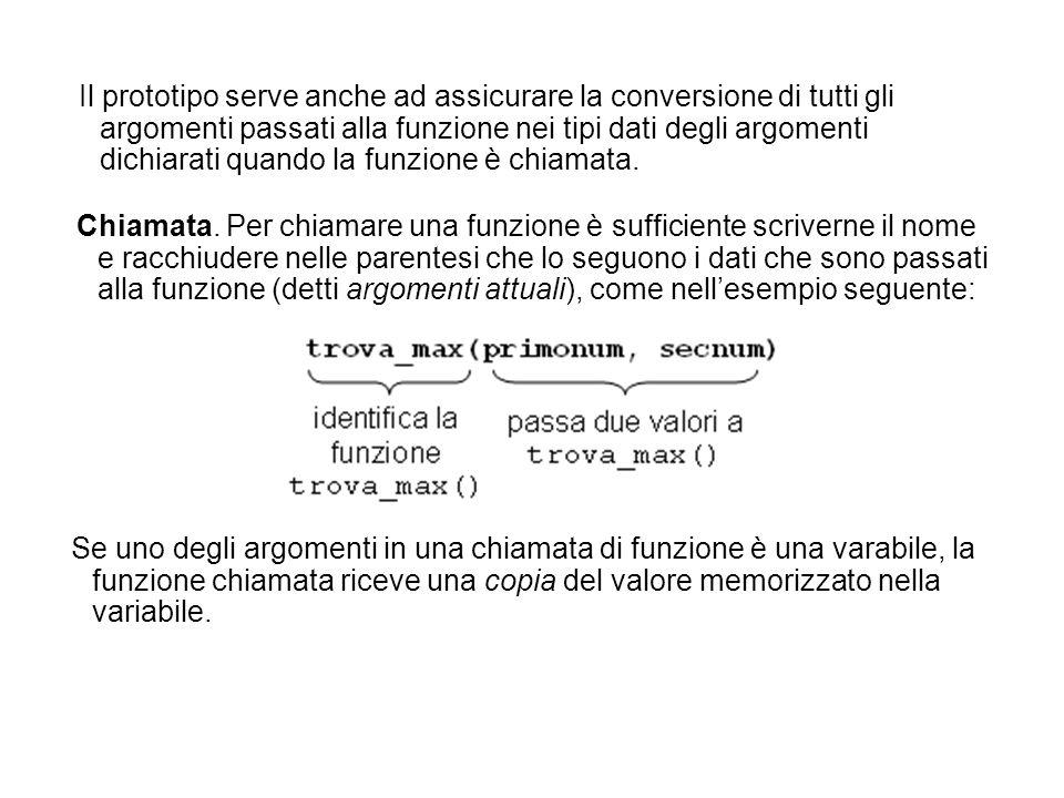 Il programma seguente genera il termine n- esimo della successione di Fibonacci, a partire dal valore di n, chiamando una funzione ricorsiva: #include long fibo(int); int main() { int numero; long risult; printf( Scrivi un numero: ); scanf( %d , &numero); risult = fibo(numero); printf( Fibonacci( %d ) = %ld\n , numero, risult); } long fibo(int n) { if (n==0 || n==1) return n; else return fibo(n-1)+fibo(n-2); }