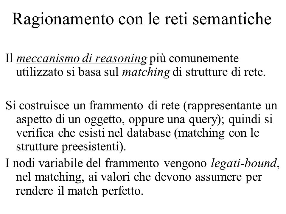 Ragionamento con le reti semantiche Il meccanismo di reasoning più comunemente utilizzato si basa sul matching di strutture di rete. Si costruisce un