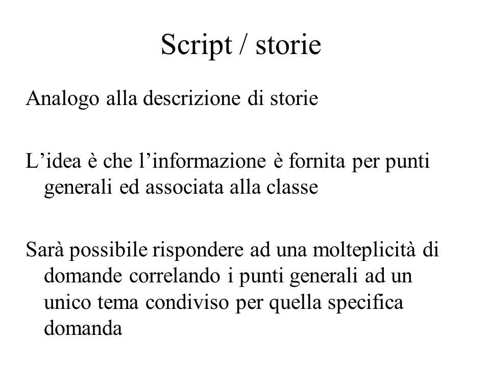 Script / storie Analogo alla descrizione di storie Lidea è che linformazione è fornita per punti generali ed associata alla classe Sarà possibile risp