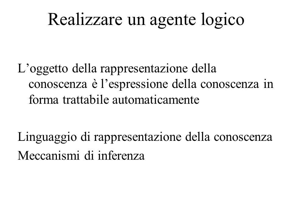 Realizzare un agente logico Loggetto della rappresentazione della conoscenza è lespressione della conoscenza in forma trattabile automaticamente Lingu