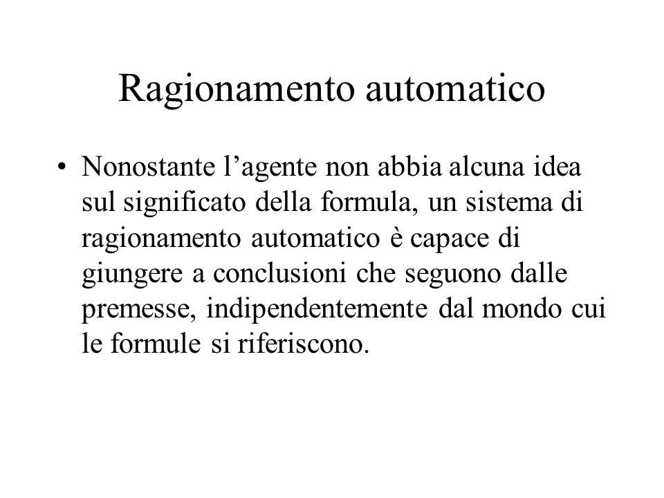 Ragionamento automatico Nonostante lagente non abbia alcuna idea sul significato della formula, un sistema di ragionamento automatico è capace di giungere a conclusioni che seguono dalle premesse, indipendentemente dal mondo cui le formule si riferiscono.