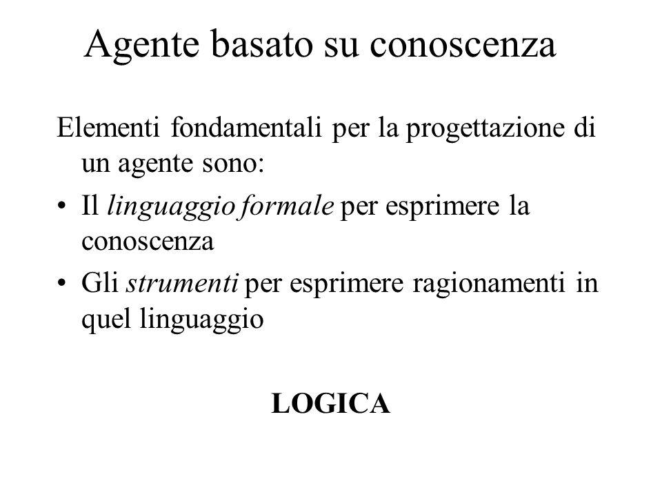 Agente basato su conoscenza Elementi fondamentali per la progettazione di un agente sono: Il linguaggio formale per esprimere la conoscenza Gli strume