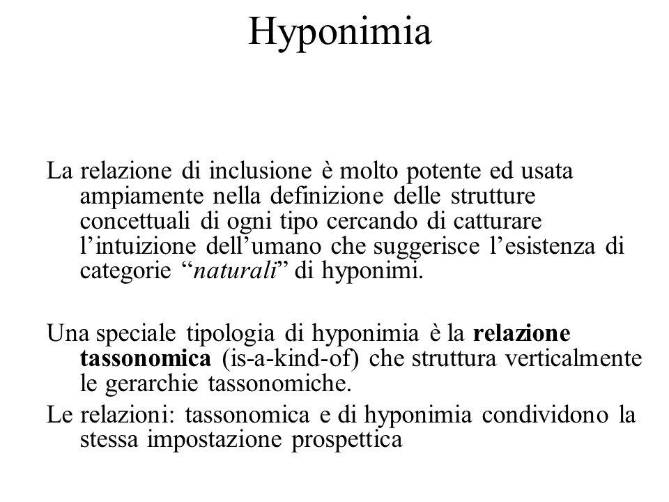 Hyponimia La relazione di inclusione è molto potente ed usata ampiamente nella definizione delle strutture concettuali di ogni tipo cercando di catturare lintuizione dellumano che suggerisce lesistenza di categorie naturali di hyponimi.