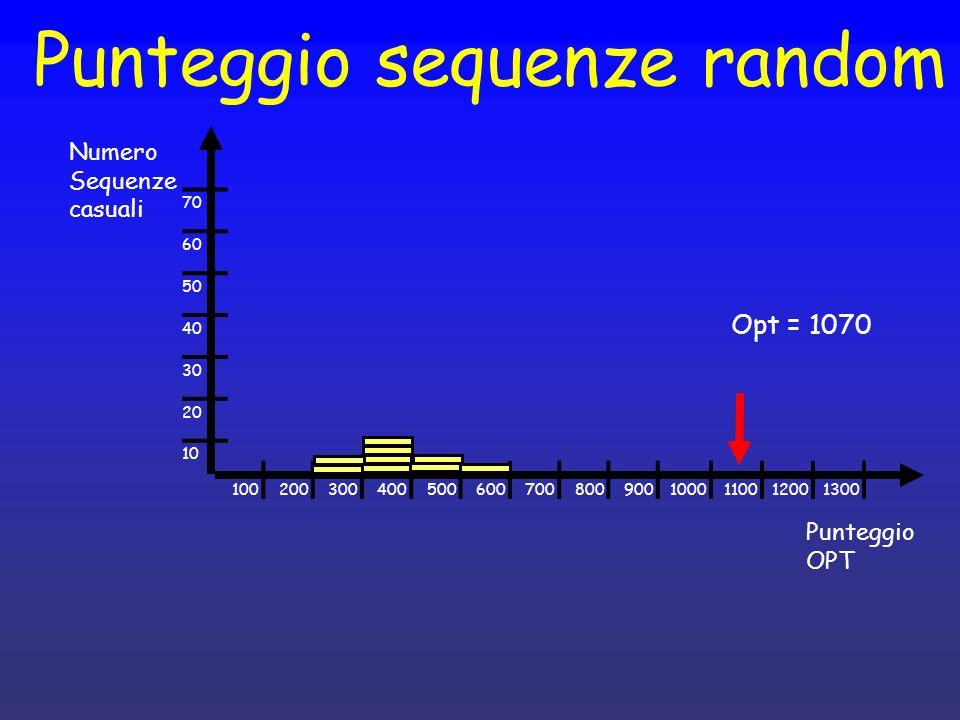 Punteggio sequenze random Punteggio OPT 1002003004005006007008009001000110012001300 Opt = 1070 Numero Sequenze casuali 70 60 50 40 30 20 10