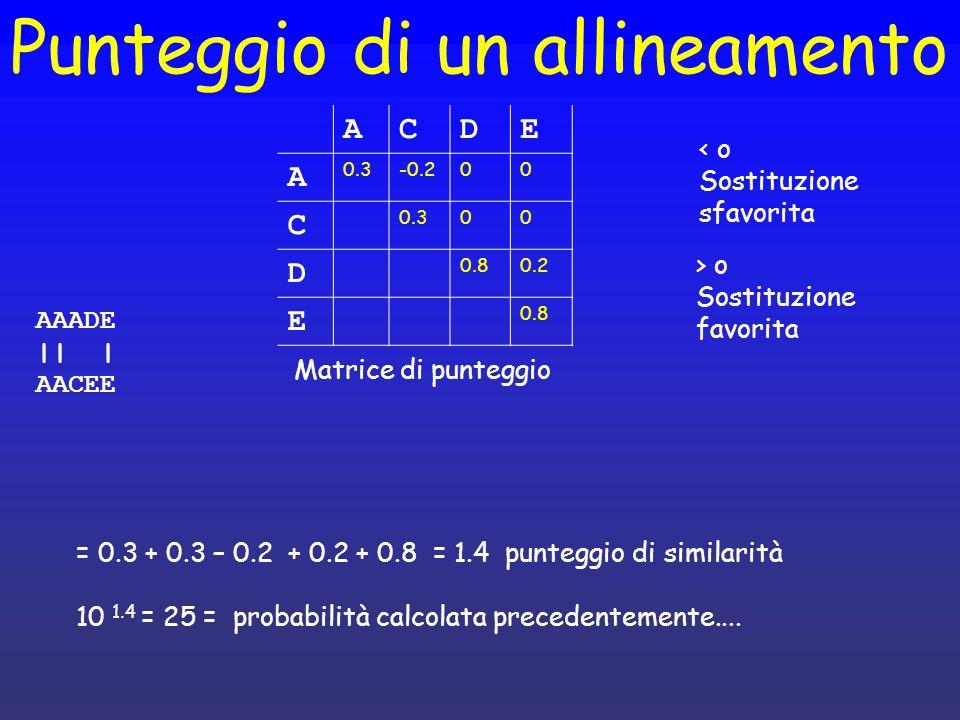 Punteggio di un allineamento AAADE || | AACEE ACDE A 0.3-0.200 C 0.300 D 0.80.2 E 0.8 Matrice di punteggio = 0.3 + 0.3 – 0.2 + 0.2 + 0.8 = 1.4 puntegg