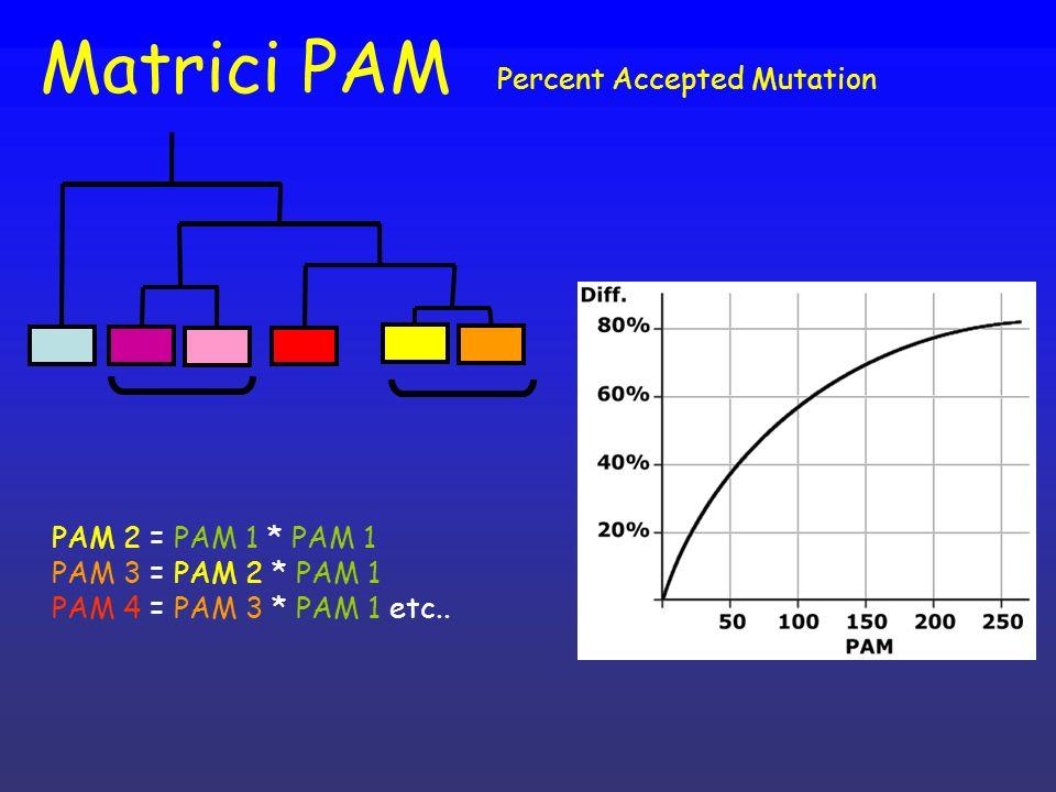 Matrici PAM Percent Accepted Mutation PAM 2 = PAM 1 * PAM 1 PAM 3 = PAM 2 * PAM 1 PAM 4 = PAM 3 * PAM 1 etc..
