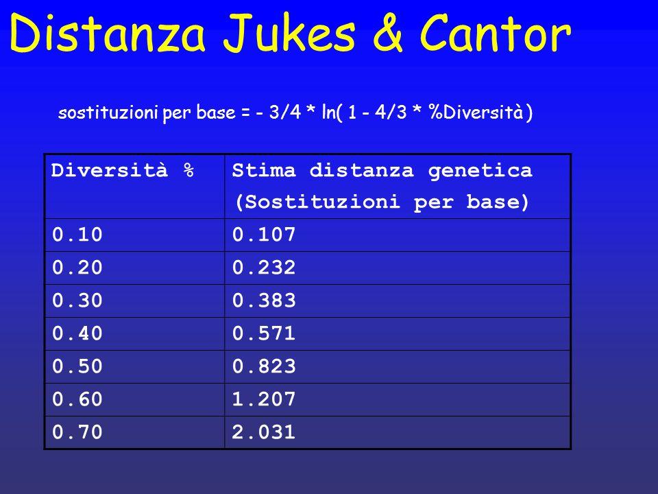 Distanza Jukes & Cantor Diversità %Stima distanza genetica (Sostituzioni per base) 0.100.107 0.200.232 0.300.383 0.400.571 0.500.823 0.601.207 0.702.0