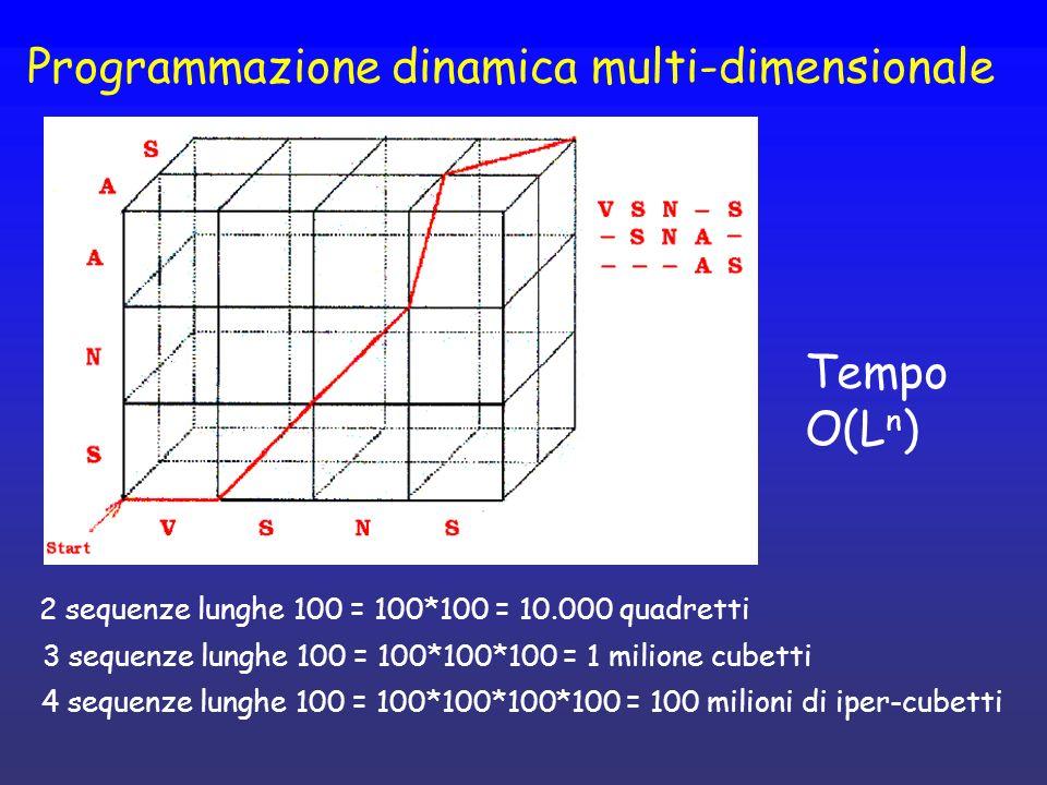 Programmazione dinamica multi-dimensionale 2 sequenze lunghe 100 = 100*100 = 10.000 quadretti 3 sequenze lunghe 100 = 100*100*100 = 1 milione cubetti