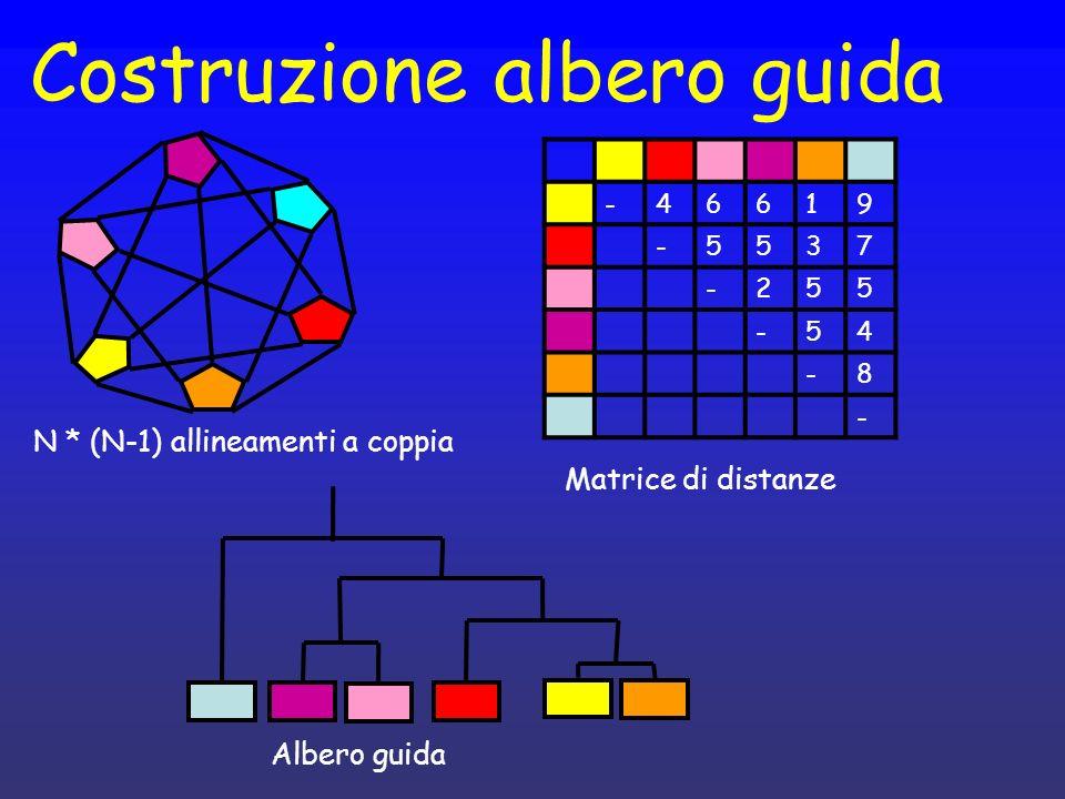 Costruzione albero guida -46619 -5537 -255 -54 -8 - N * (N-1) allineamenti a coppia Matrice di distanze Albero guida