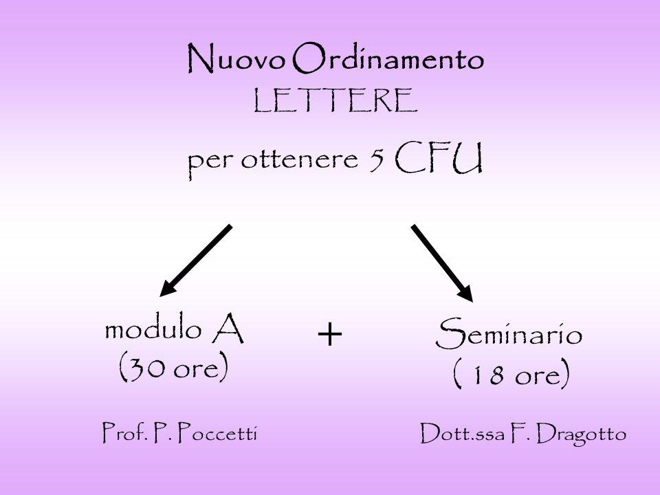 Nuovo Ordinamento C.L.LETTERE modulo A + modulo B (tot.