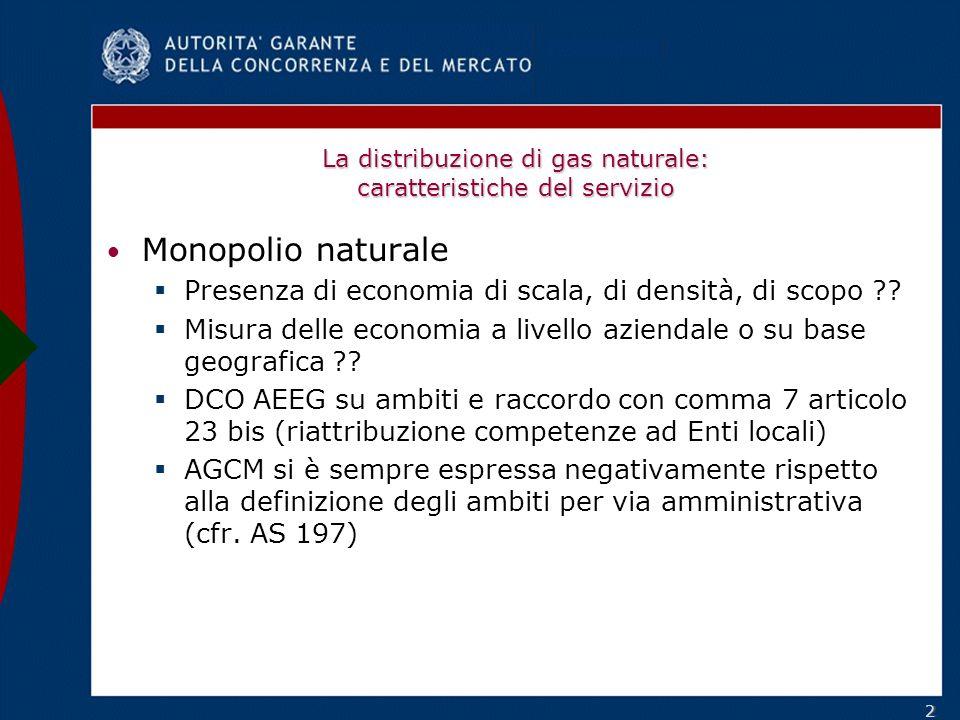 22 La distribuzione di gas naturale: caratteristiche del servizio Monopolio naturale Presenza di economia di scala, di densità, di scopo .