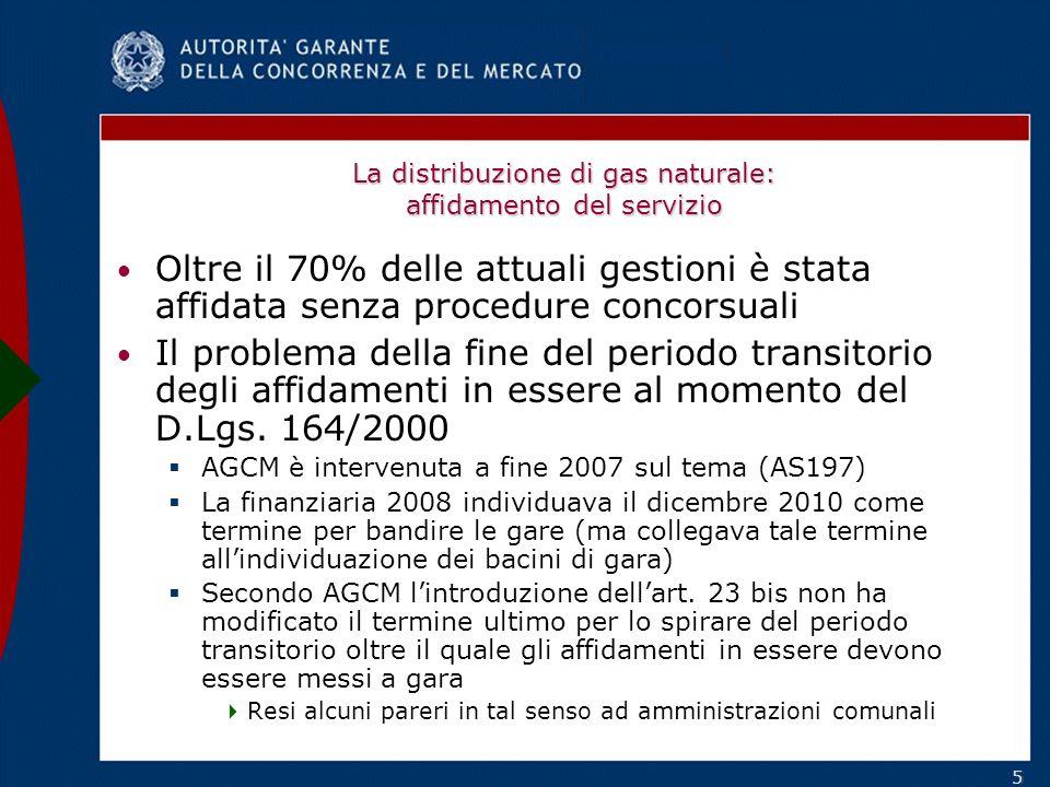 55 La distribuzione di gas naturale: affidamento del servizio Oltre il 70% delle attuali gestioni è stata affidata senza procedure concorsuali Il problema della fine del periodo transitorio degli affidamenti in essere al momento del D.Lgs.