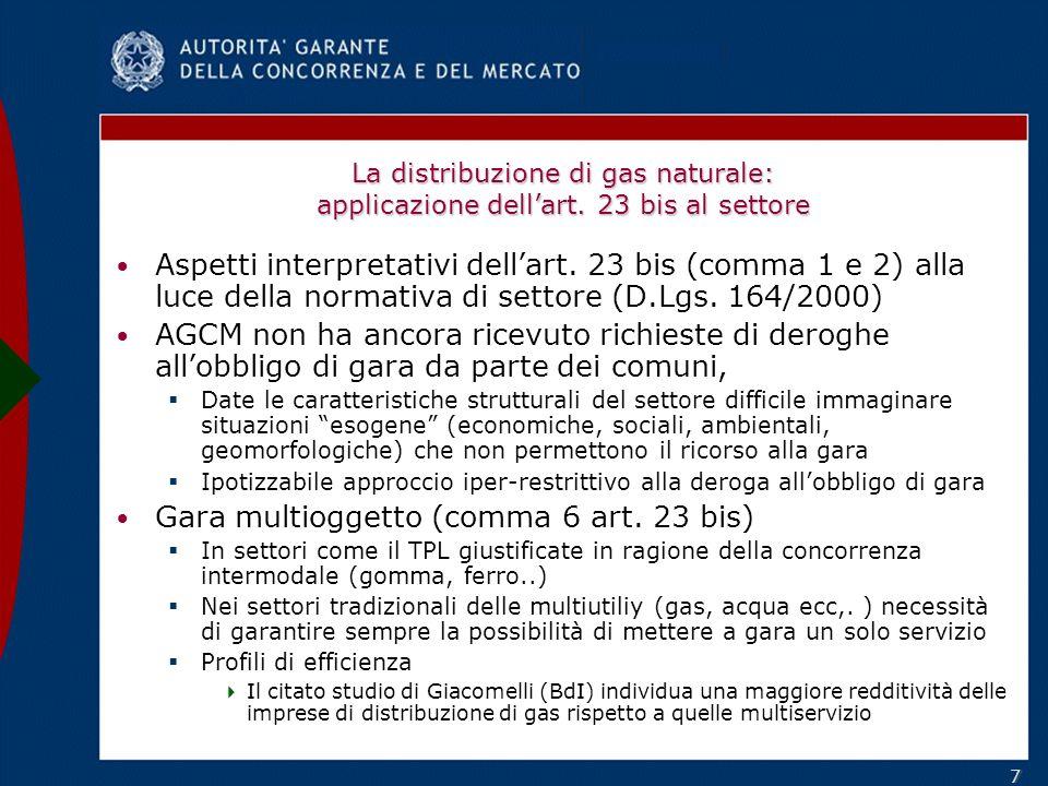 77 La distribuzione di gas naturale: applicazione dellart.