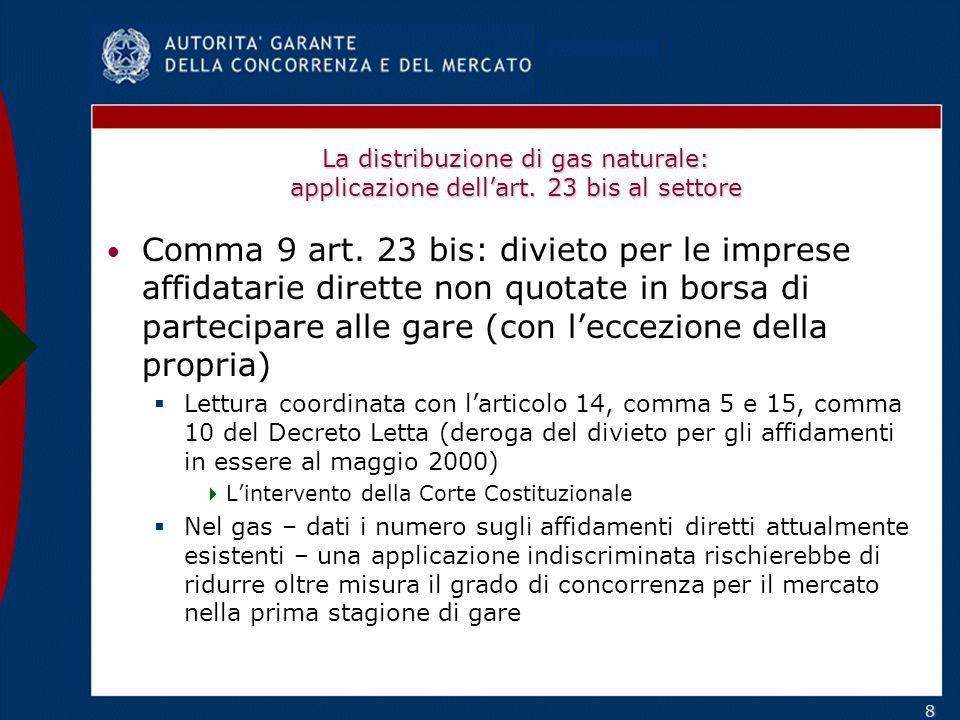 88 La distribuzione di gas naturale: applicazione dellart.