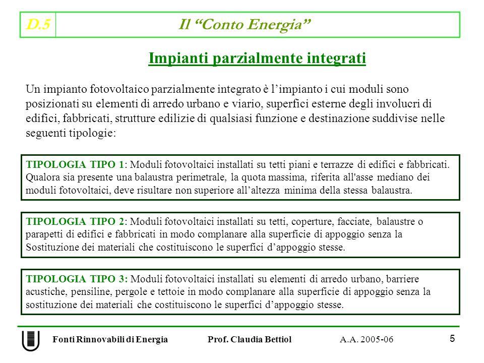 D.5 Il Conto Energia 5 Fonti Rinnovabili di Energia Prof. Claudia Bettiol A.A. 2005-06 Impianti parzialmente integrati Un impianto fotovoltaico parzia