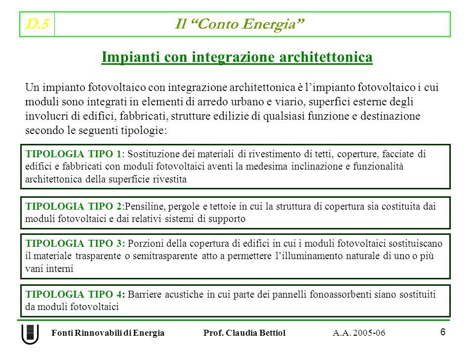 D.5 Il Conto Energia 6 Fonti Rinnovabili di Energia Prof. Claudia Bettiol A.A. 2005-06 Impianti con integrazione architettonica Un impianto fotovoltai