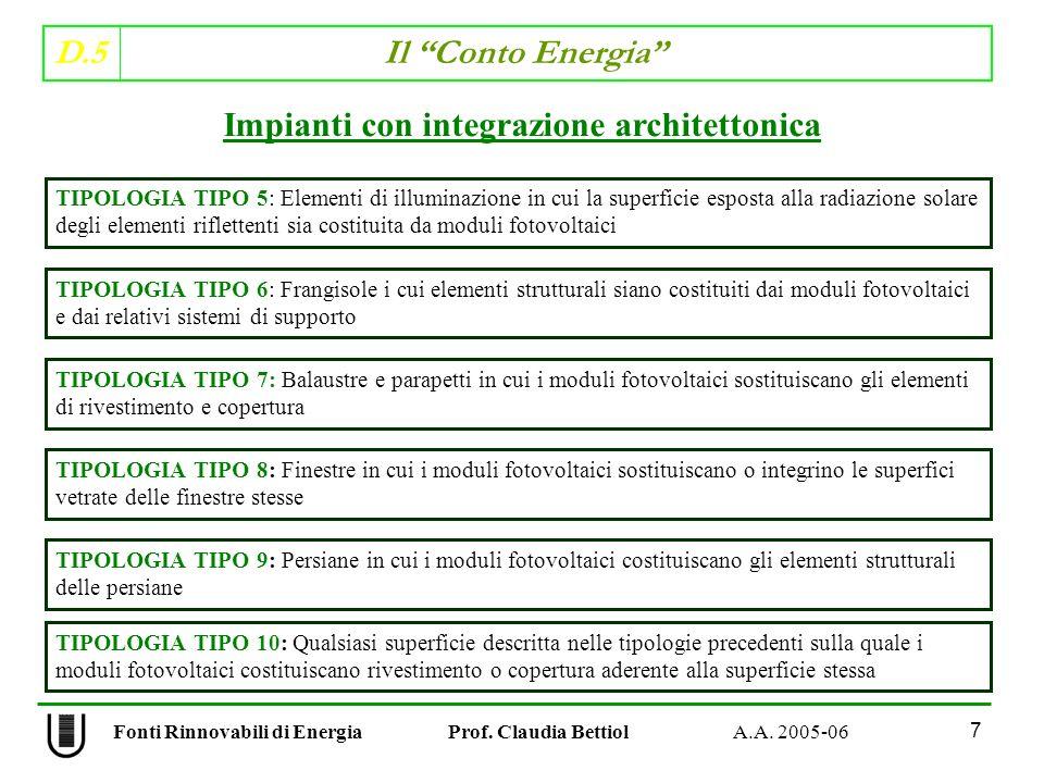 D.5 Il Conto Energia 7 Fonti Rinnovabili di Energia Prof. Claudia Bettiol A.A. 2005-06 Impianti con integrazione architettonica TIPOLOGIA TIPO 5: Elem