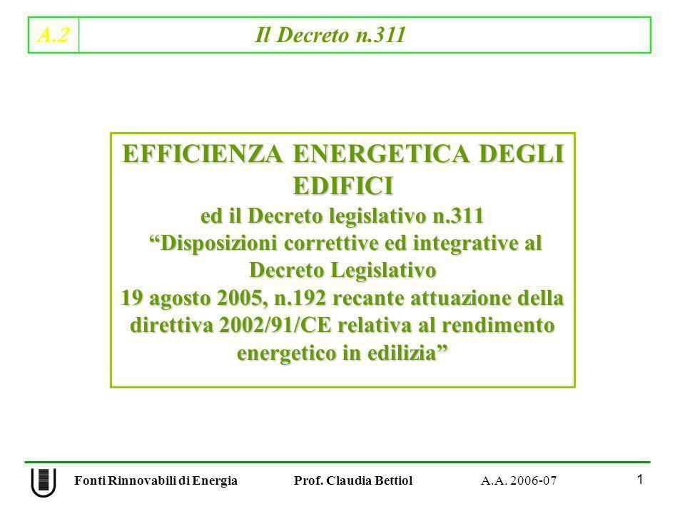 A.2 Il Decreto n.311 1 Fonti Rinnovabili di Energia Prof. Claudia Bettiol A.A. 2006-07 EFFICIENZA ENERGETICA DEGLI EDIFICI ed il Decreto legislativo n