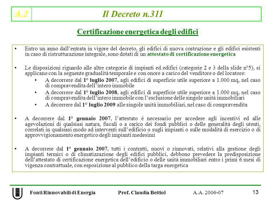 A.2 Il Decreto n.311 13 Fonti Rinnovabili di Energia Prof. Claudia Bettiol A.A. 2006-07 Entro un anno dallentrata in vigore del decreto, gli edifici d