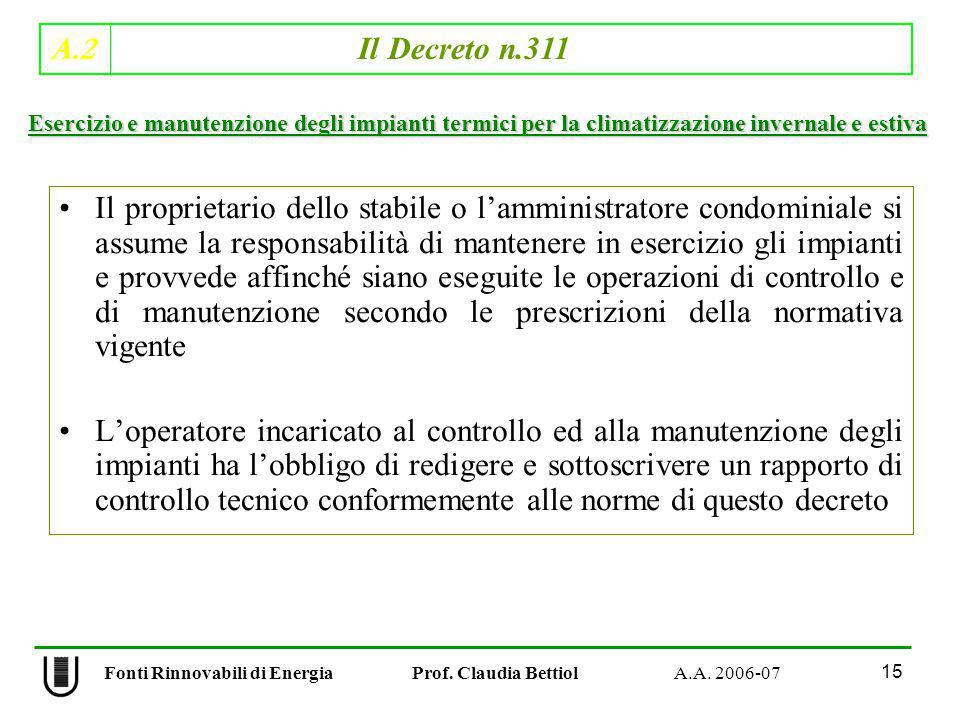 A.2 Il Decreto n.311 15 Fonti Rinnovabili di Energia Prof. Claudia Bettiol A.A. 2006-07 Il proprietario dello stabile o lamministratore condominiale s