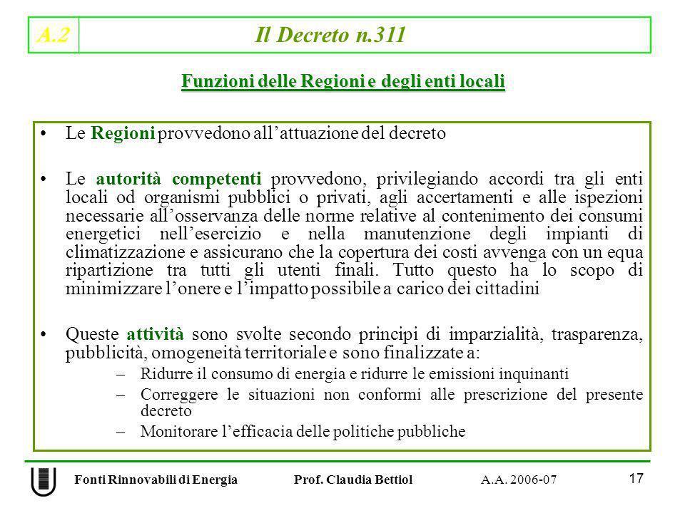 A.2 Il Decreto n.311 17 Fonti Rinnovabili di Energia Prof. Claudia Bettiol A.A. 2006-07 Le Regioni provvedono allattuazione del decreto Le autorità co
