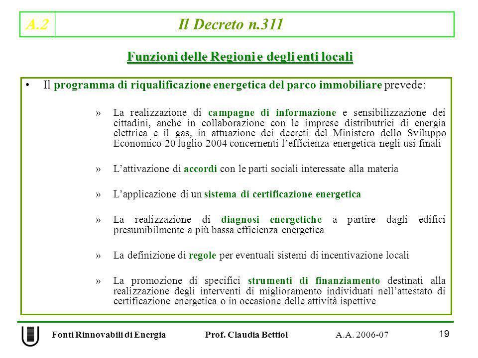 A.2 Il Decreto n.311 19 Fonti Rinnovabili di Energia Prof. Claudia Bettiol A.A. 2006-07 Il programma di riqualificazione energetica del parco immobili