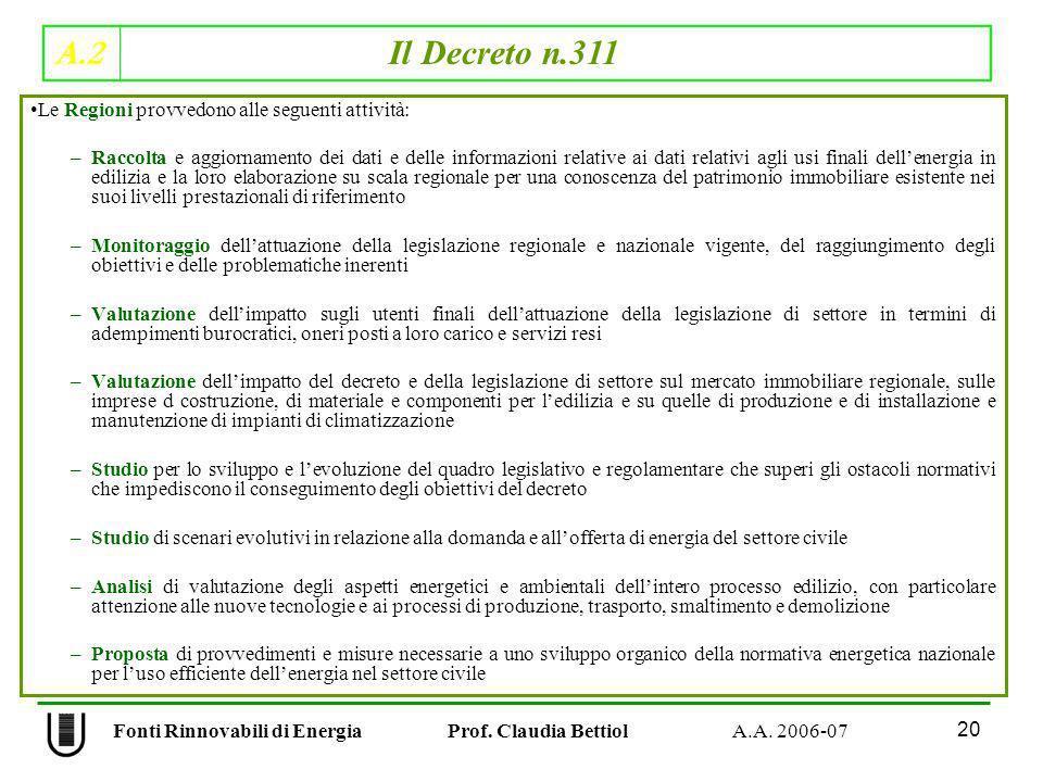 A.2 Il Decreto n.311 20 Fonti Rinnovabili di Energia Prof. Claudia Bettiol A.A. 2006-07 Le Regioni provvedono alle seguenti attività: –Raccolta e aggi
