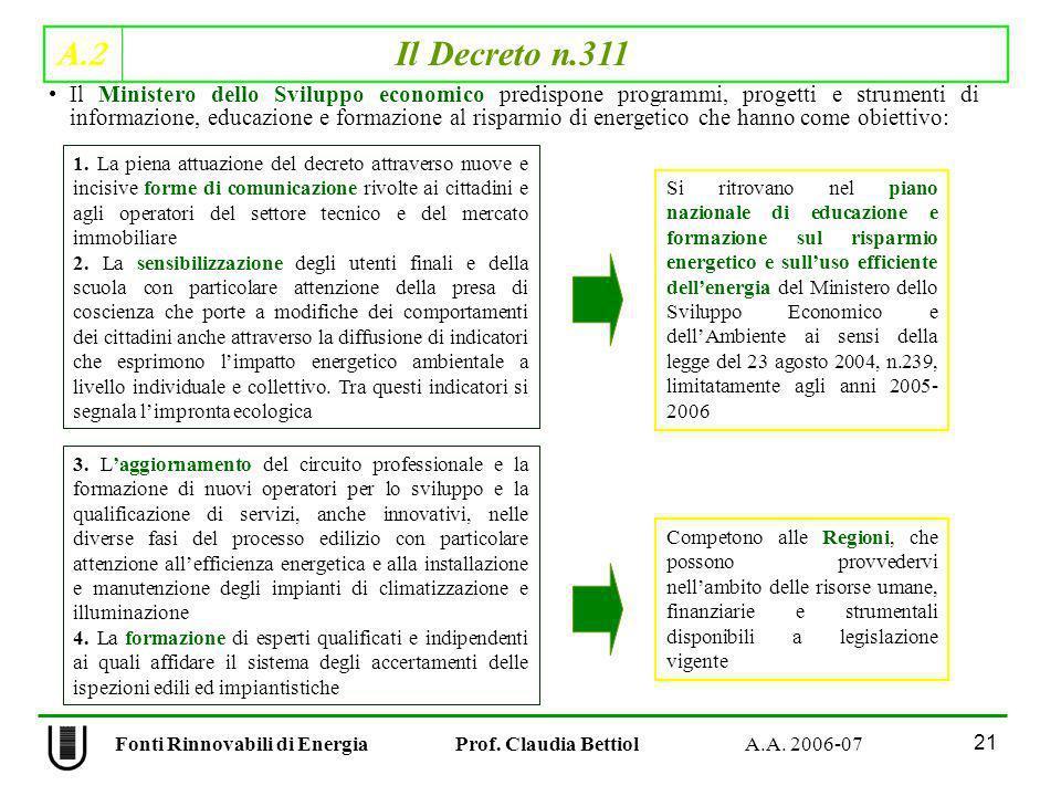 A.2 Il Decreto n.311 21 Fonti Rinnovabili di Energia Prof. Claudia Bettiol A.A. 2006-07 Il Ministero dello Sviluppo economico predispone programmi, pr