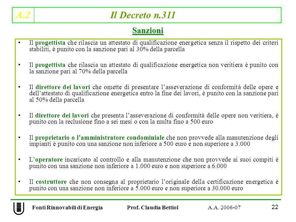 A.2 Il Decreto n.311 22 Fonti Rinnovabili di Energia Prof. Claudia Bettiol A.A. 2006-07 Il progettista che rilascia un attestato di qualificazione ene