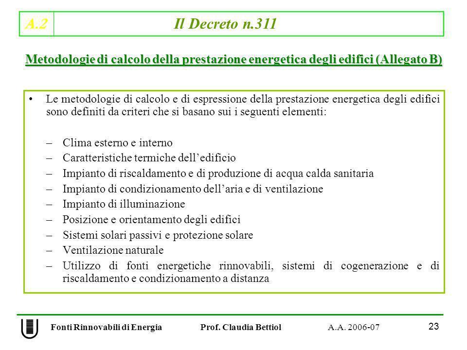 A.2 Il Decreto n.311 23 Fonti Rinnovabili di Energia Prof. Claudia Bettiol A.A. 2006-07 Le metodologie di calcolo e di espressione della prestazione e
