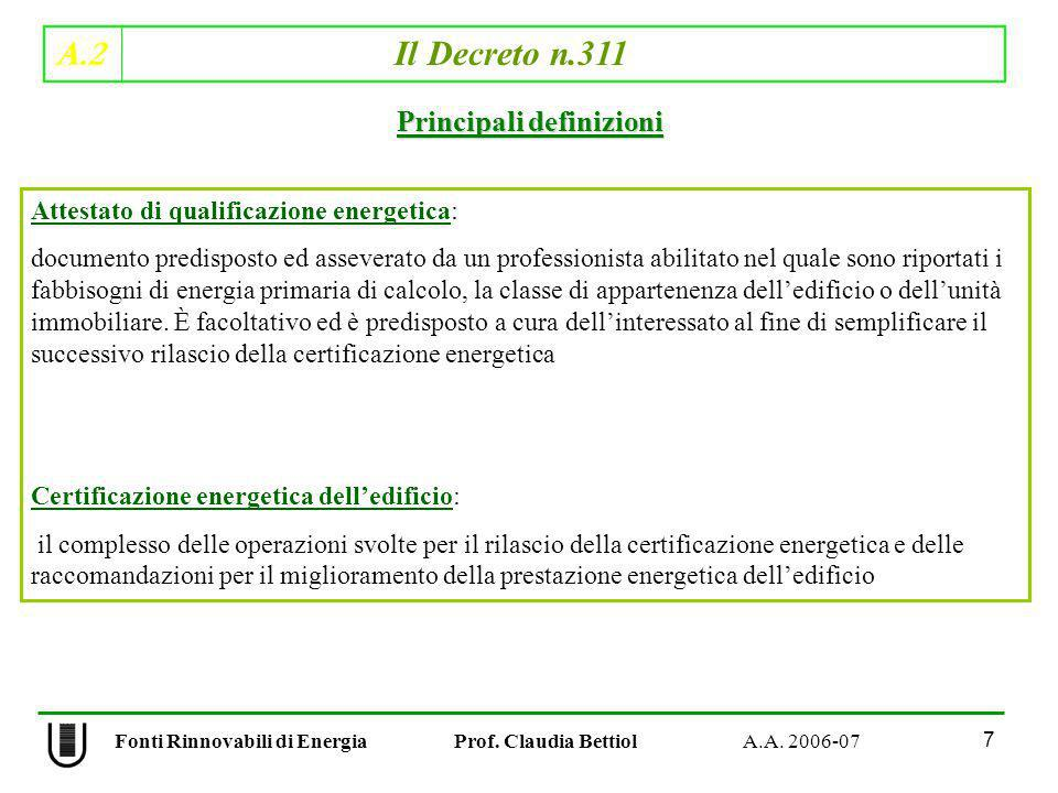 A.2 Il Decreto n.311 7 Fonti Rinnovabili di Energia Prof. Claudia Bettiol A.A. 2006-07 Principali definizioni Attestato di qualificazione energetica:
