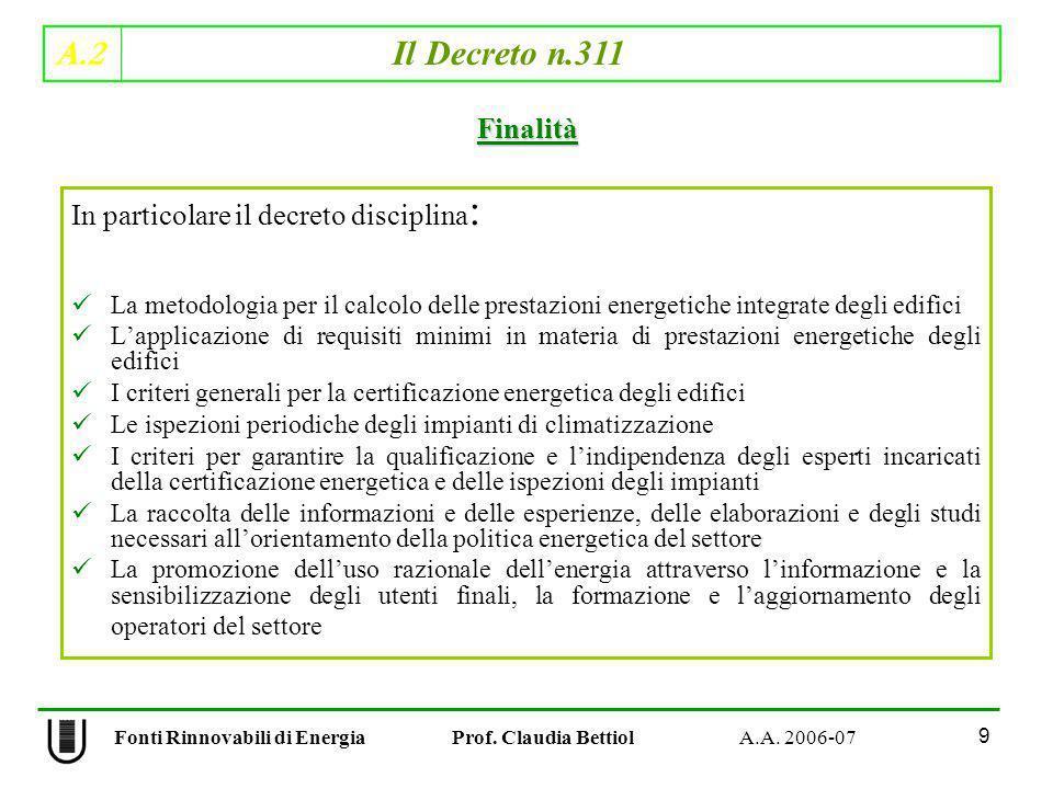 A.2 Il Decreto n.311 9 Fonti Rinnovabili di Energia Prof. Claudia Bettiol A.A. 2006-07 In particolare il decreto disciplina : La metodologia per il ca