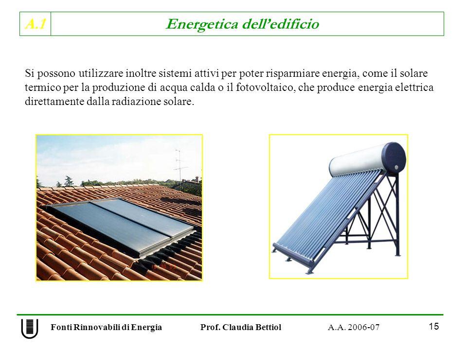 A.1 Energetica delledificio Fonti Rinnovabili di Energia Prof. Claudia Bettiol A.A. 2006-07 15 Si possono utilizzare inoltre sistemi attivi per poter