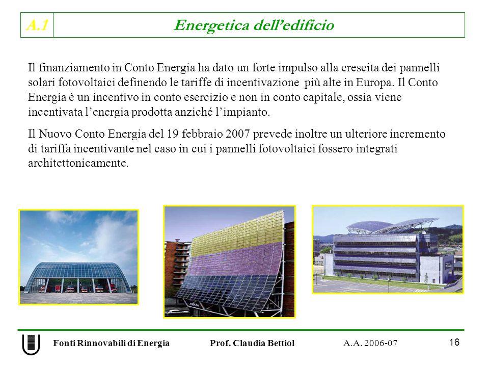 A.1 Energetica delledificio Fonti Rinnovabili di Energia Prof. Claudia Bettiol A.A. 2006-07 16 Il finanziamento in Conto Energia ha dato un forte impu
