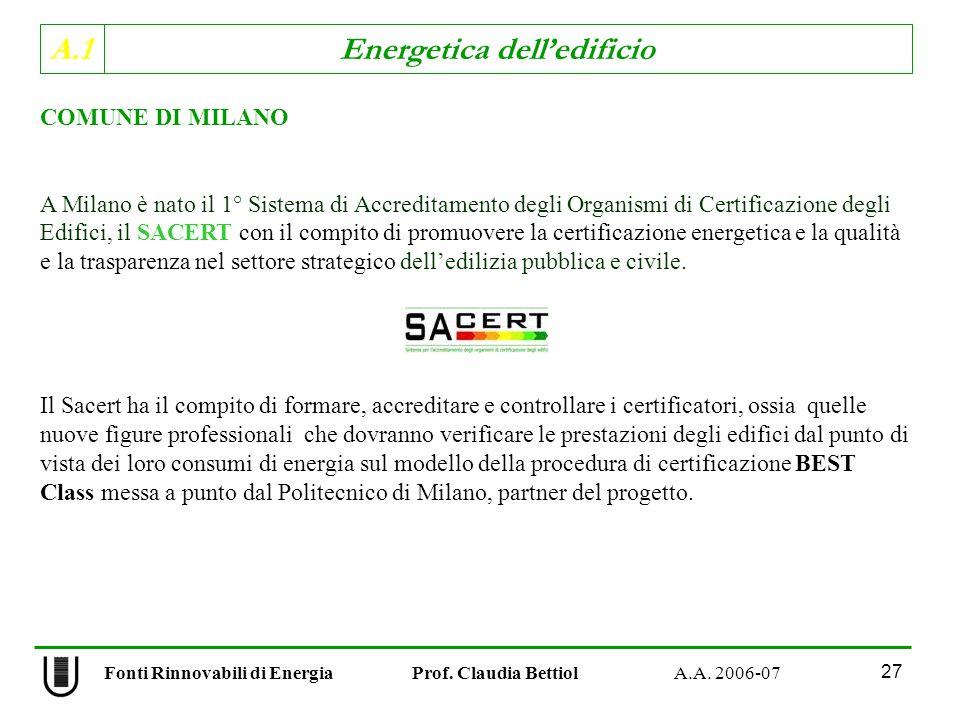 A.1 Energetica delledificio Fonti Rinnovabili di Energia Prof. Claudia Bettiol A.A. 2006-07 27 COMUNE DI MILANO A Milano è nato il 1° Sistema di Accre