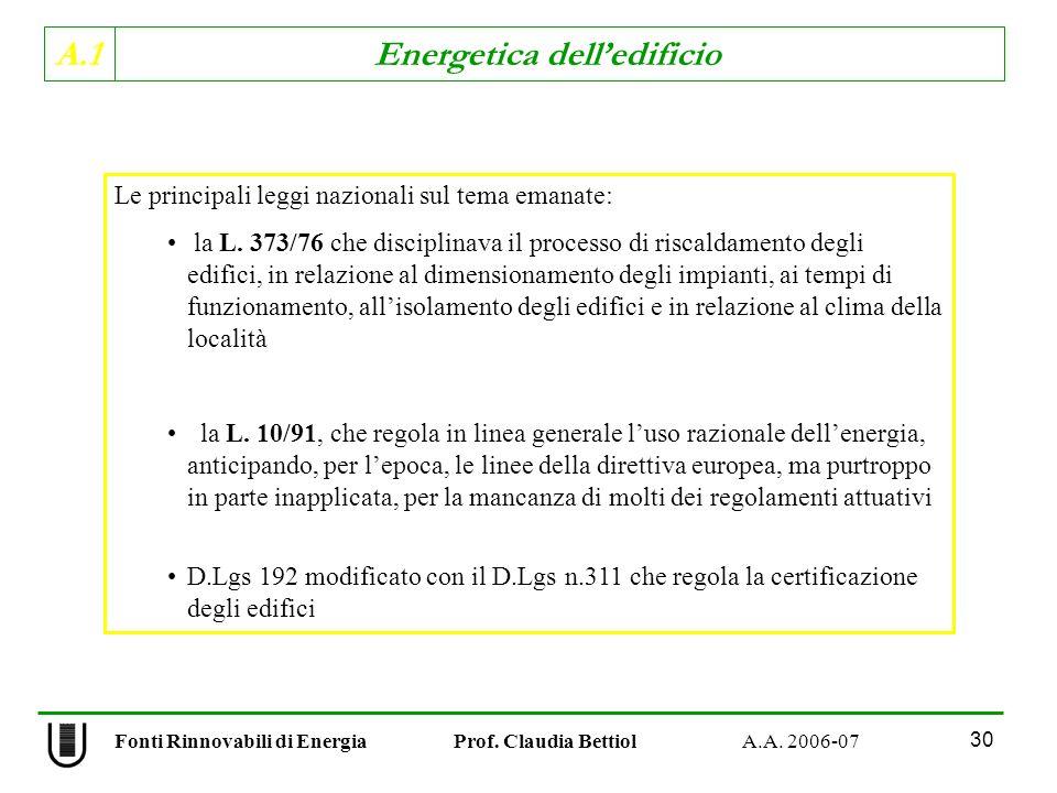 A.1 Energetica delledificio Fonti Rinnovabili di Energia Prof. Claudia Bettiol A.A. 2006-07 30 Le principali leggi nazionali sul tema emanate: la L. 3