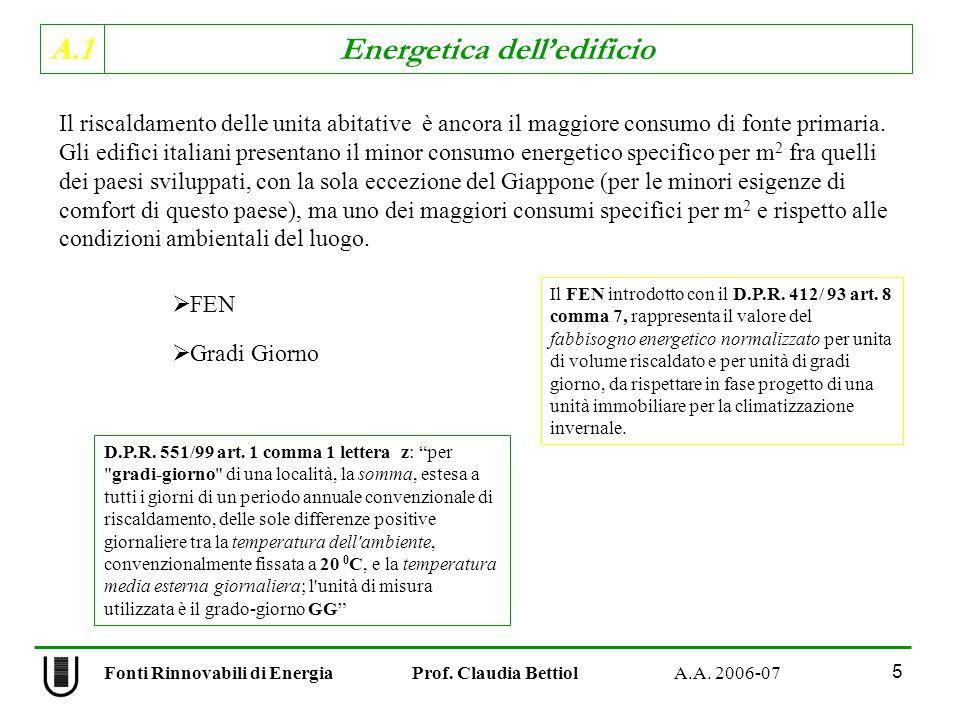 A.1 Energetica delledificio Fonti Rinnovabili di Energia Prof. Claudia Bettiol A.A. 2006-07 5 Il riscaldamento delle unita abitative è ancora il maggi