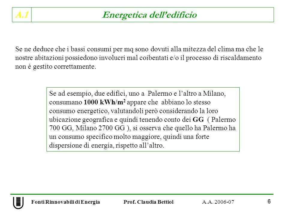 A.1 Energetica delledificio Fonti Rinnovabili di Energia Prof. Claudia Bettiol A.A. 2006-07 6 Se ne deduce che i bassi consumi per mq sono dovuti alla