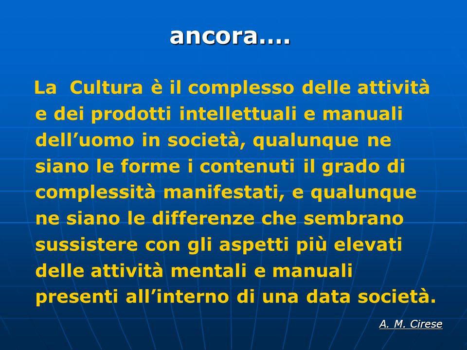 ancora…. La Cultura è il complesso delle attività e dei prodotti intellettuali e manuali delluomo in società, qualunque ne siano le forme i contenuti