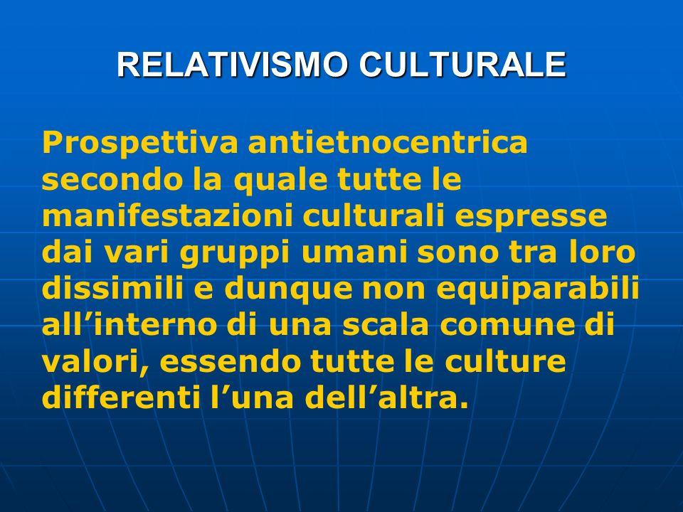 RELATIVISMO CULTURALE Prospettiva antietnocentrica secondo la quale tutte le manifestazioni culturali espresse dai vari gruppi umani sono tra loro dis