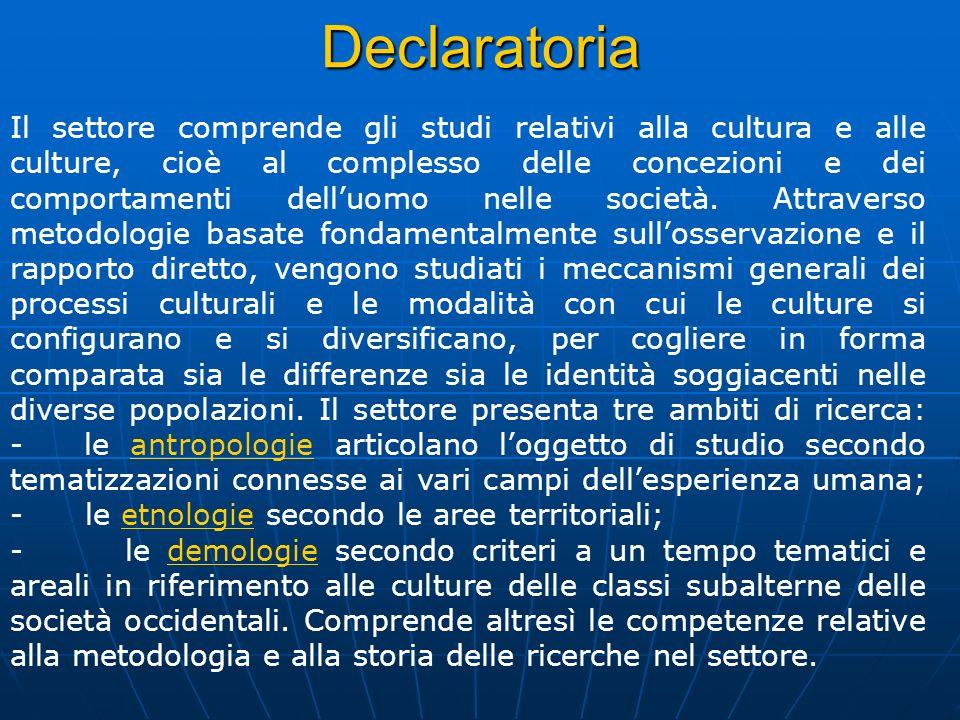 Declaratoria Il settore comprende gli studi relativi alla cultura e alle culture, cioè al complesso delle concezioni e dei comportamenti delluomo nell