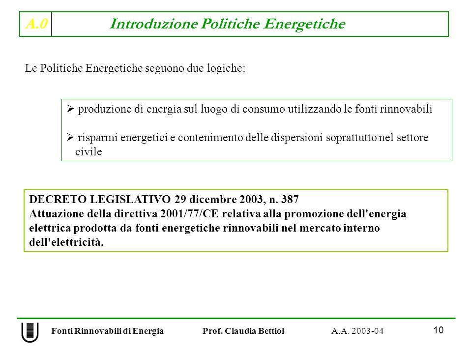 A.0 Introduzione Politiche Energetiche 10 Fonti Rinnovabili di Energia Prof. Claudia Bettiol A.A. 2003-04 Le Politiche Energetiche seguono due logiche