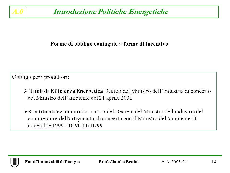 A.0 Introduzione Politiche Energetiche 13 Fonti Rinnovabili di Energia Prof. Claudia Bettiol A.A. 2003-04 Forme di obbligo coniugate a forme di incent