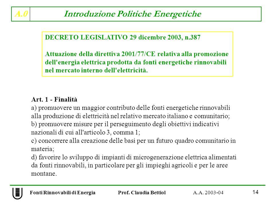 A.0 Introduzione Politiche Energetiche 14 Fonti Rinnovabili di Energia Prof. Claudia Bettiol A.A. 2003-04 Art. 1 - Finalità a) promuovere un maggior c