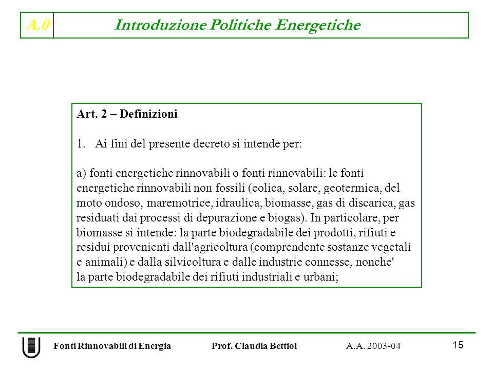 A.0 Introduzione Politiche Energetiche 15 Fonti Rinnovabili di Energia Prof. Claudia Bettiol A.A. 2003-04 Art. 2 – Definizioni 1.Ai fini del presente