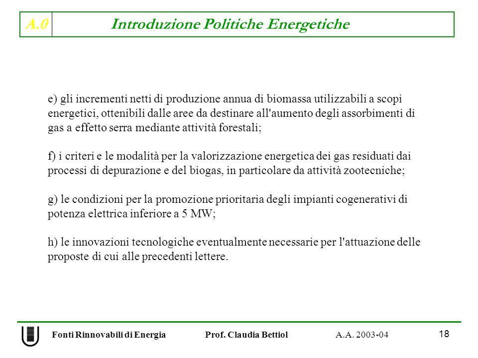 A.0 Introduzione Politiche Energetiche 18 Fonti Rinnovabili di Energia Prof. Claudia Bettiol A.A. 2003-04 e) gli incrementi netti di produzione annua